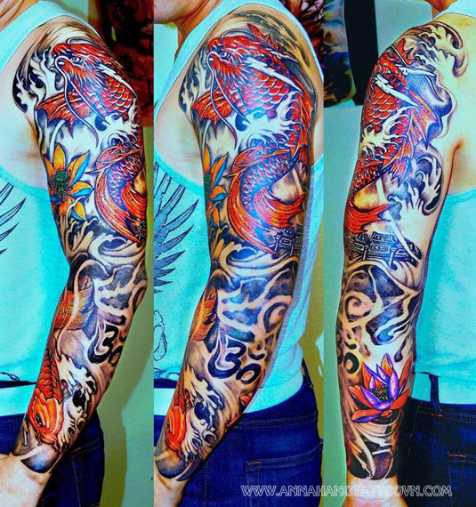 Full sleeve chest and arm gallery anna hang tattoo for Koi fish tattoo on arm