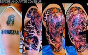 Half Sleeve Cover Up Red Koifish Blue Lotus Video Anna Hang