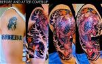 tattoo-video-garden-grove-half-sleeve-cover-up-red-koifish-blue-lotus-