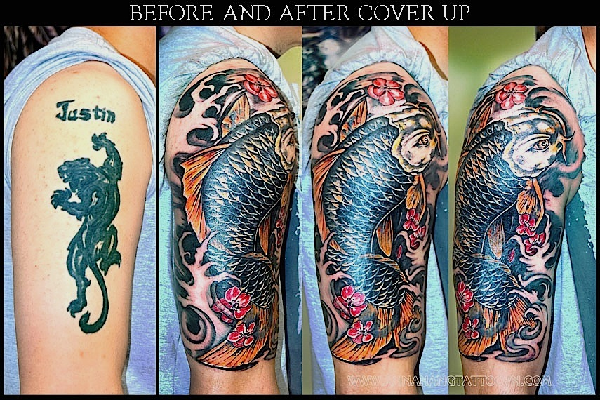 Half sleeve gallery anna hang tattoo for Koi fish cover up